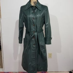 Vintage 70s Green leather Trenchcoat
